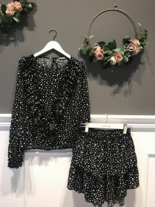 Blouse and Skirt ANGEL BLACK DOTS