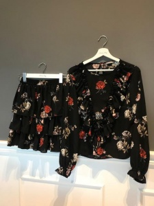 Blouse and Skirt ANGEL BLACK FLOWERS