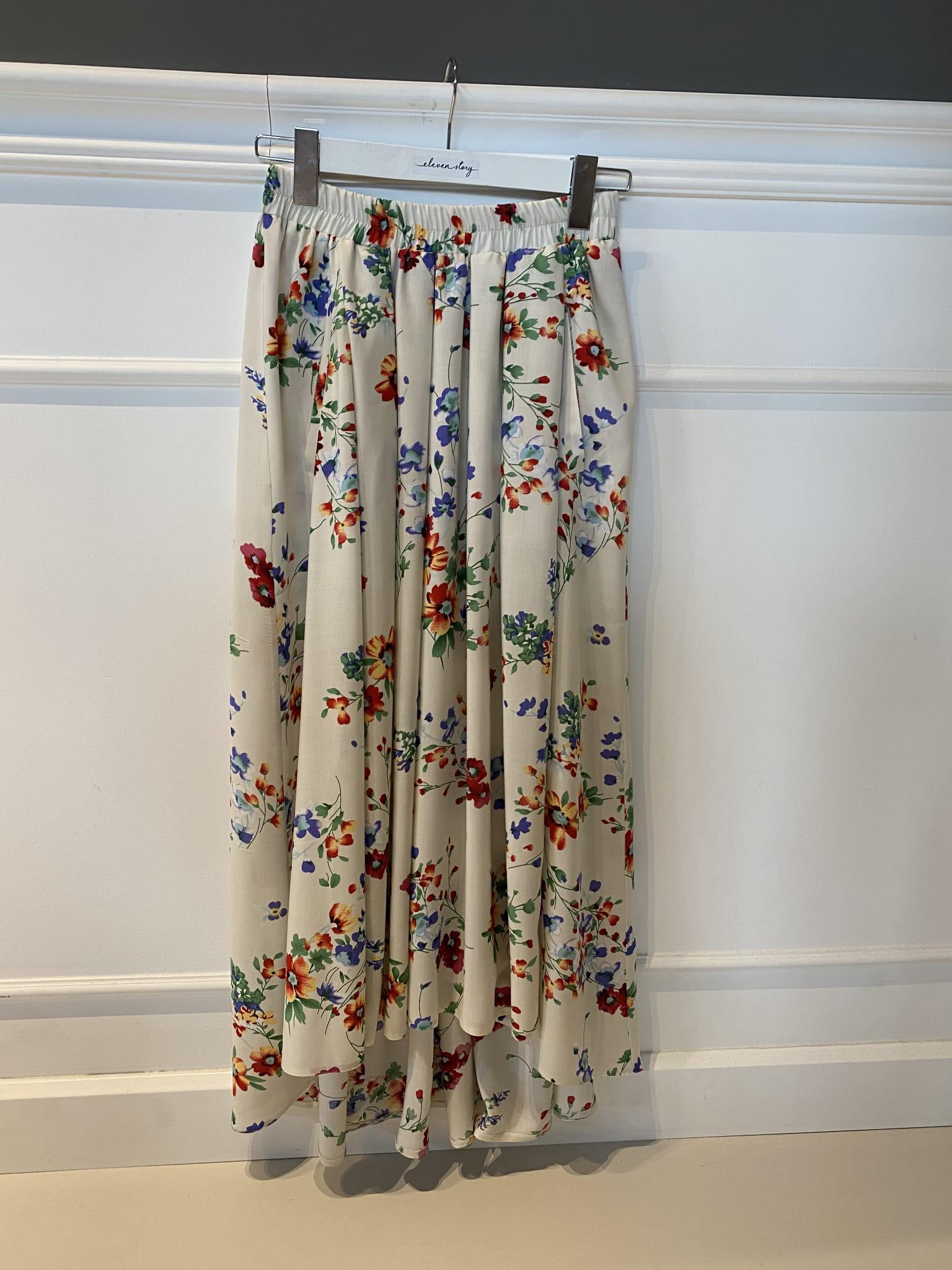 REBECCA SUMMER CREAM LIMITED długa spódnica z rozporkami